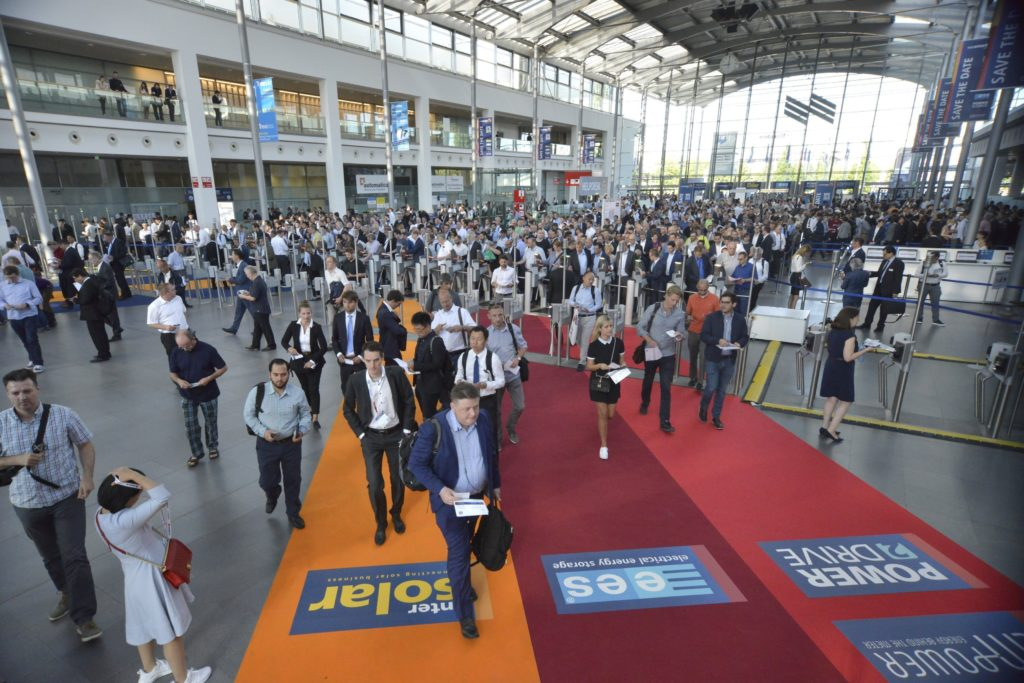 Arrival hal full of people during the Inter Solar exhibition 2019